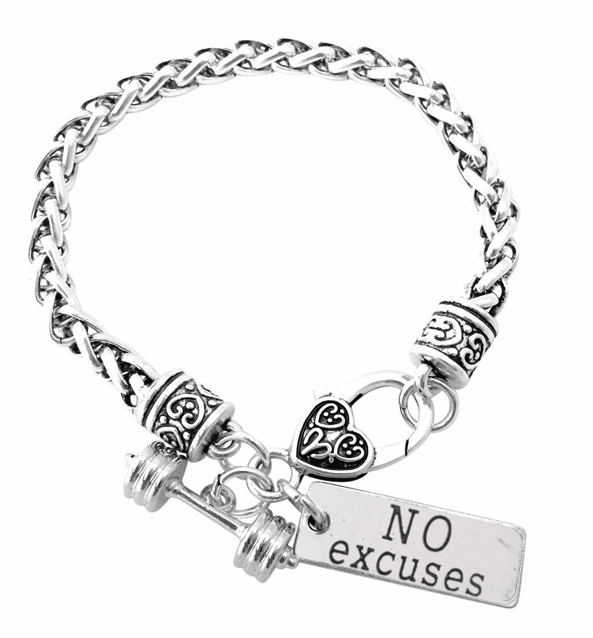 "CrossFit Training Weight Lifting Fitness Dumbbell Barbell Silver Charm Bracelet ""No Excuses"""