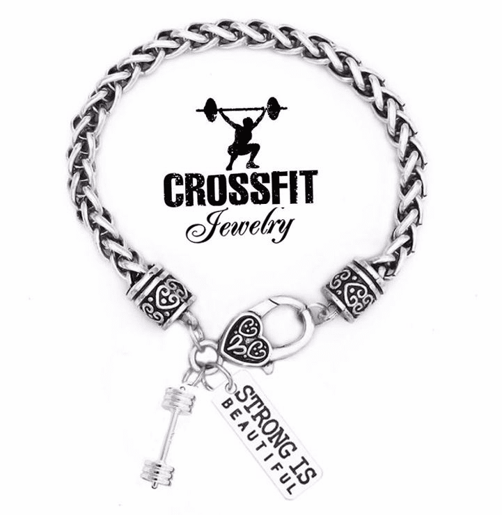 "CrossFit Training Weight Lifting Fitness Dumbbell Barbell Silver Charm Bracelet ""Strong Is Beautiful"""