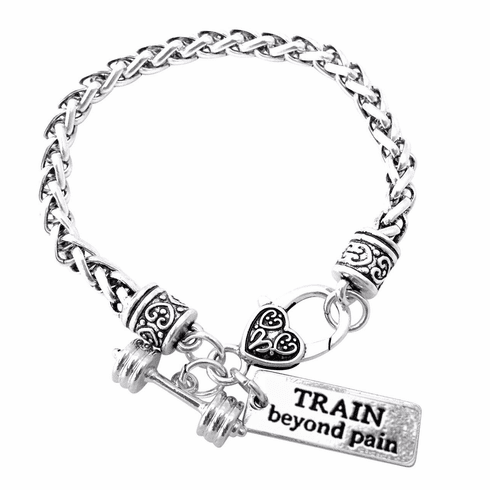 "CrossFit Training Weight Lifting Fitness Dumbbell Barbell Silver Charm Bracelet ""Train Beyond Pain"""