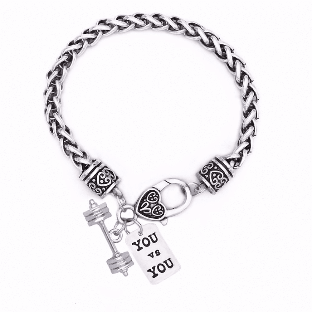 "CrossFit Training Weight Lifting Fitness Dumbbell Barbell Silver Charm Bracelet ""You vs You"""