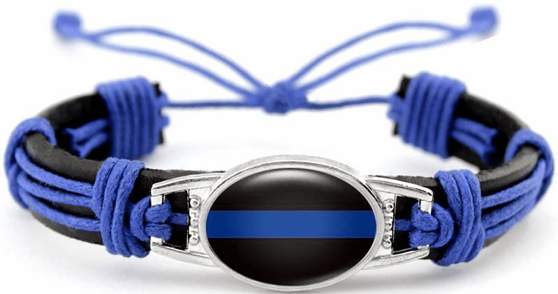 "Details about  Police Cops Lives Matter Thin Blue Line Black Leather Cord Bracelet 7.5"" 8.5"""