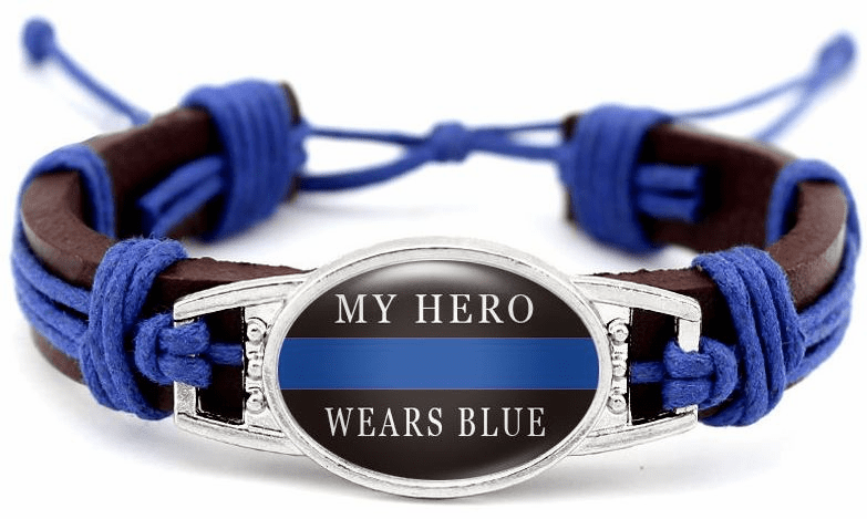 "Details about  Police Lives Matter My Hero Wears Blue Leather Cord Brown Bracelet 7.5"" 8.5"""