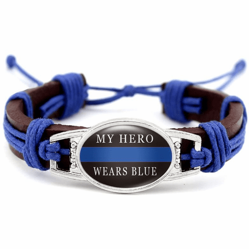 """Details about  Police Lives Matter My Hero Wears Blue Leather Cord Brown Bracelet 7.5"""" 8.5"""""""