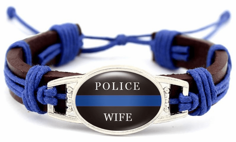 "Details about  Police Lives Matter Thin Blue Line Brown Leather Wife Cord Bracelet 7.5"" to 8.5"""