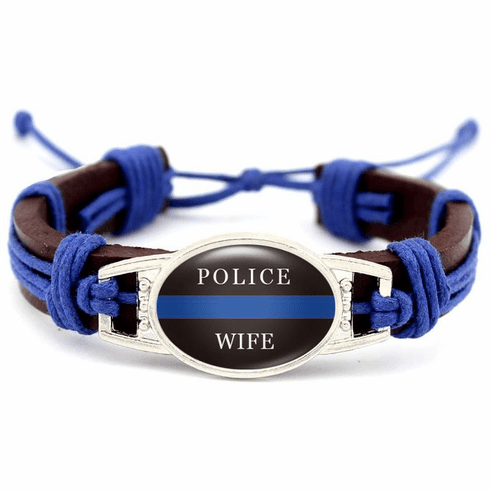 """Details about  Police Lives Matter Thin Blue Line Brown Leather Wife Cord Bracelet 7.5"""" to 8.5"""""""