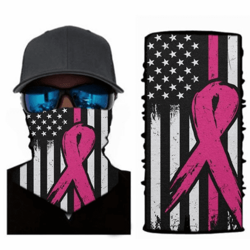 Face Mask Neck Gaiter Pink Ribbon Flag