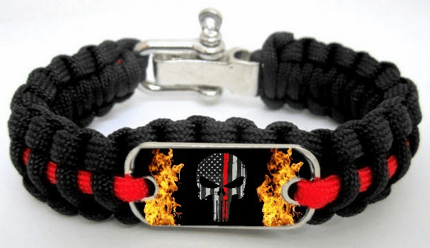 Firefighter Punisher Skull Thin Red Line Fire Dept Paracord Survival Bracelet