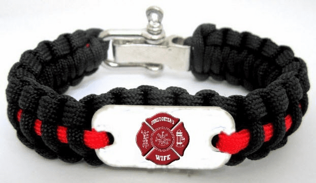 Firefighter Wife Paracord Survival Bracelet w/ Logo Plate