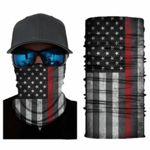 Fishing Shield Cloth Protective Neck Gaiter Face Mask Firefighter Dept Red Line Flag