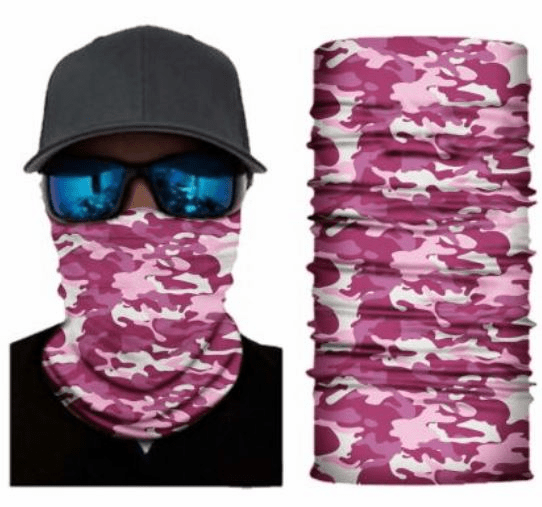 Fishing Shield Cloth Protective Neck Gaiter Face Mask Pink Camo