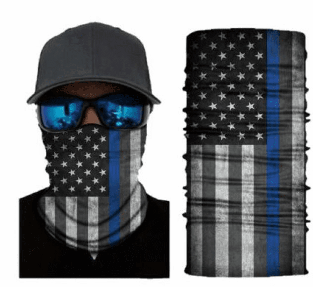 Fishing Shield Cloth Protective Neck Gaiter Face Mask Police Dept Blue Line Flag