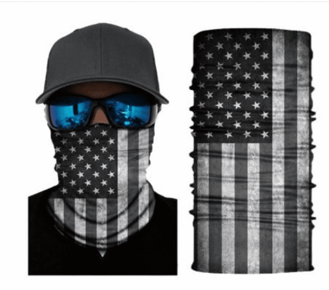 Fishing Shield Cloth Protective Neck Gaiter Face Mask USA American Flag Black