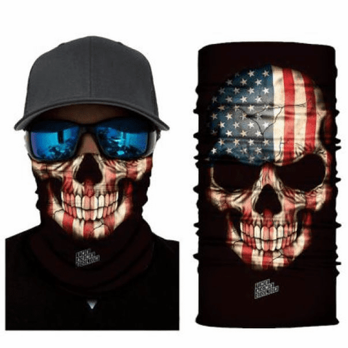 Fishing Shield Cloth Protective Neck Gaiter Face Mask USA American Flag Skull