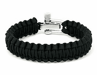 Paracord Survival Bracelet Adjustable Metal Clasp (Black)