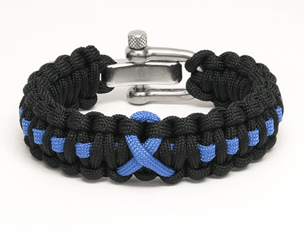 Paracord Survival Bracelet Adjustable Metal Clasp (Blue Ribbon)
