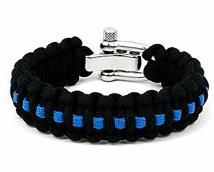 Paracord Survival Bracelet Adjustable Metal Clasp (Police)