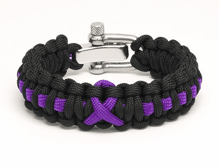 Paracord Survival Bracelet Adjustable Metal Clasp (Purple Ribbon)
