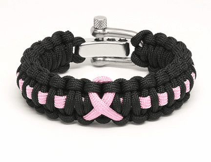 Paracord Survival Bracelet Black (Pink Ribbon)