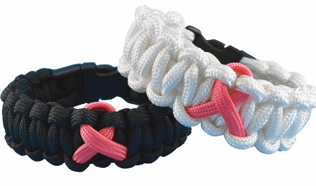 Paracord Survival Bracelet (Pink Ribbon)