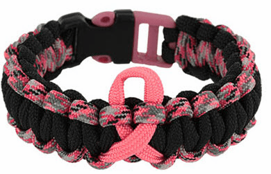 Paracord Survival Bracelet (Pink Ribbon) Blk/Pnk