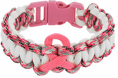 Paracord Survival Bracelet (Pink Ribbon) Wht/Pnk