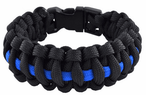 Paracord Survival Bracelet (Thin Blue Line) Police