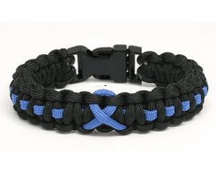 Paracord Survival Bracelet w/ Plastic Clasp (Blue Ribbon)