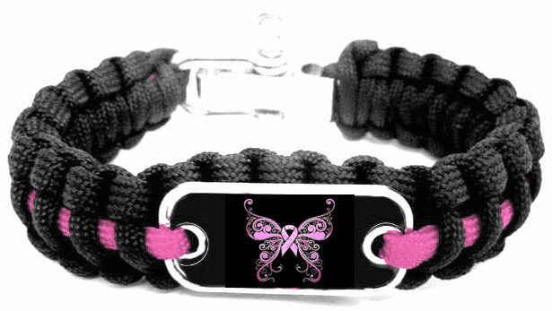 "Pink Ribbon Breast Cancer Awareness Butterfly ""I'm Free"" Logo Paracord Bracelet"