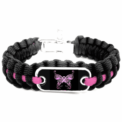 """Pink Ribbon Breast Cancer Awareness Butterfly """"I'm Free"""" Logo Paracord Bracelet"""