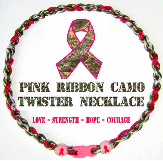 Pink Ribbon Breast Cancer Awareness Camo Power Twister Necklace
