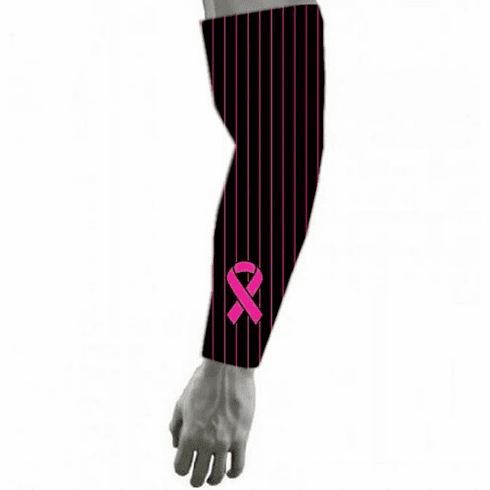 Pink Ribbon Breast Cancer Awareness Sports BLACK Compression Arm Sleeve - Pinstripes
