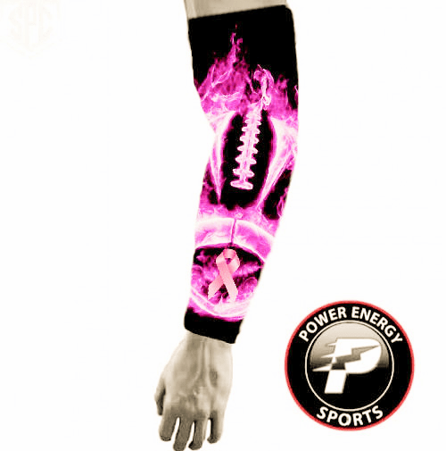 Pink Ribbon Breast Cancer Awareness Sports Compression Arm Sleeve - Pink Flames Football