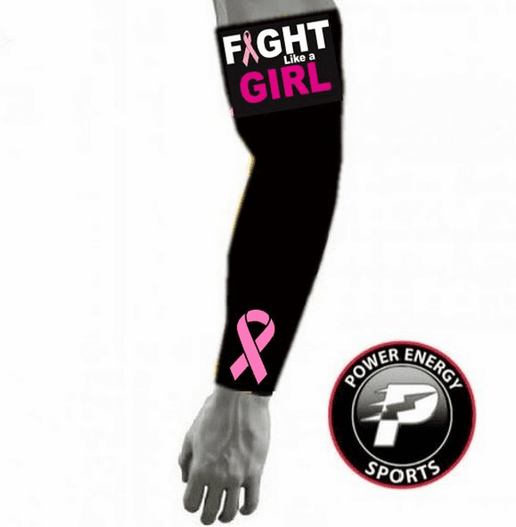 Pink Ribbon Sports Compression Arm Sleeve - Fight Like A Girl