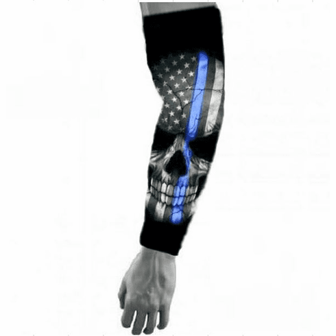 Police Lives Matter Compression Arm Sleeve - Thin Blue Line Skull