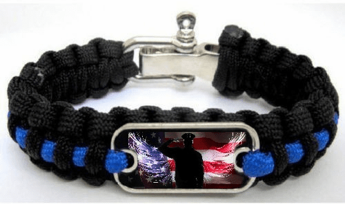 Police Lives Matter Thin Blue Line Fallen Officer Paracord Survival Bracelet