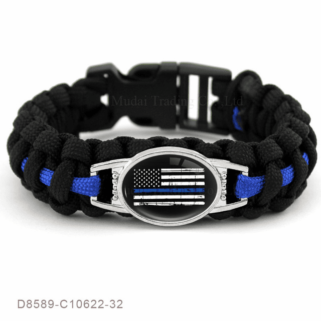 "Police Lives Matter Thin Blue Line Flag Paracord Survival 8.5"" Bracelet"
