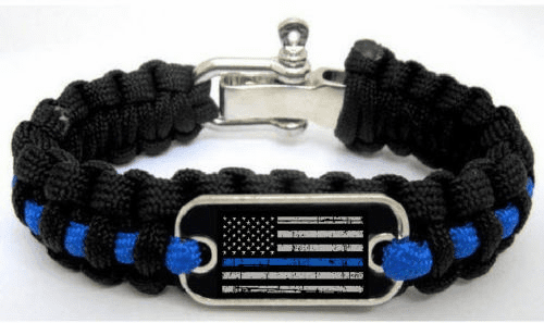 Police Lives Matter Thin Blue Line Paracord Bracelet w/ Adjustable Metal Clasp