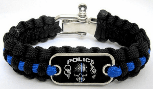 Police Lives Matter Thin Blue Line Paracord Survival Bracelet