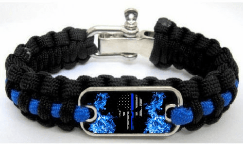 Police Lives Matter Thin Blue Line Punisher Flag Flames Paracord Survival Cord Bracelet
