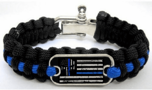 Police Lives Matter Thin Blue Line Punisher Flag Paracord Survival Cord Bracelet