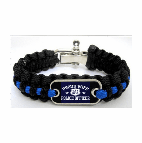 Police Wife Paracord Survival Bracelet w/ Logo Plate