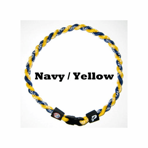 Power Twister Titanium Sports Necklace (Navy/Yellow)