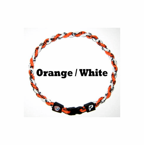 Power Twister Titanium Sports Necklace (Orange/White)