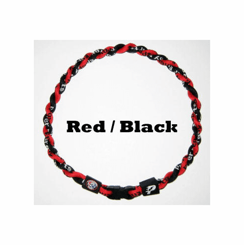 Power Twister Titanium Sports Necklace (Red/Blk)