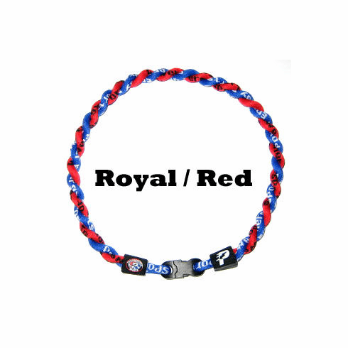 Power Twister Titanium Sports Necklace (Red/Royal)