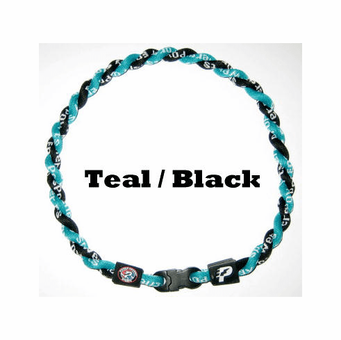 Power Twister Titanium Sports Necklace (Teal/Blk)