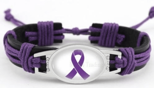 "Purple Cancer Ribbon Relay For Life Black Leather Cord 7.5"" - 8.5"" Bracelet"