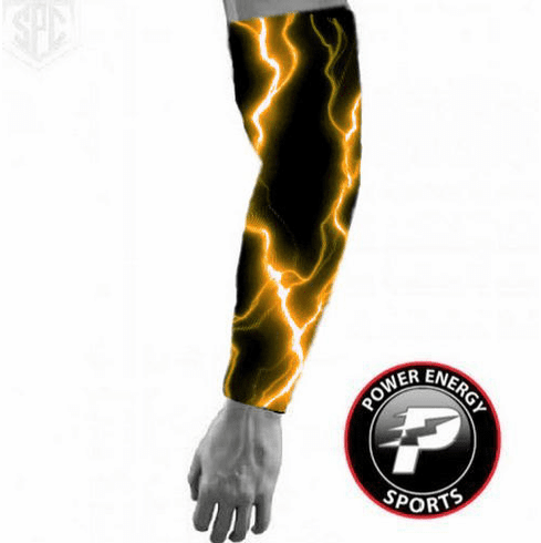 Sports Titanium Compression Baseball Arm Sleeve (Orange Lightning)