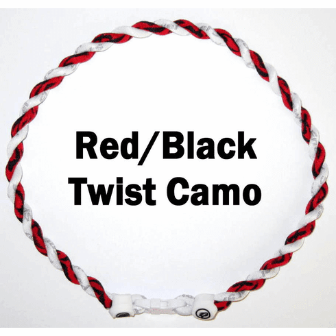 Twister Titanium Camouflage Necklace (Red/Black) White Clasp