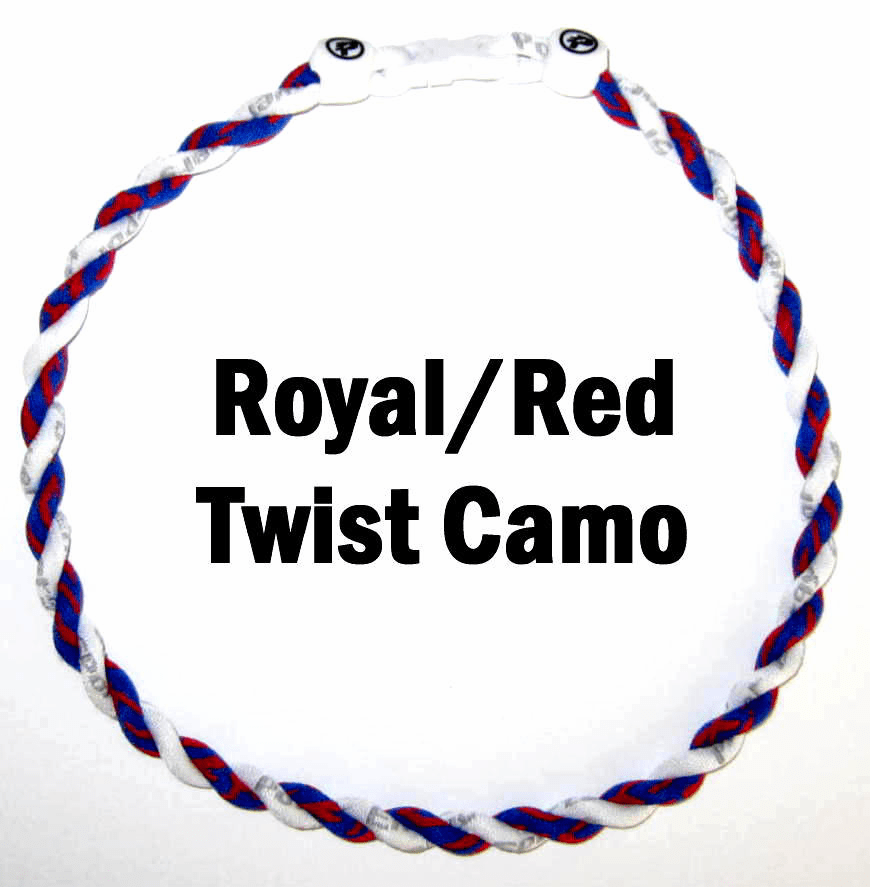 Twister Titanium Camouflage Necklace (Royal/Red) White Clasp